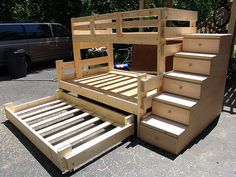 Twin Over Full Bunk Bed with Trundle and 5 Drawer Stair Dresser $1250 TOTAL (3 pieces-unfinished)