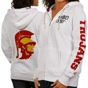 Cheer on the Trojans in a comfortable and cute white hoodie.