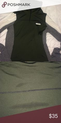 Army Green PINK athletic sweatshirt! Cowl neck PINK athletic sweatshirt. Only worn once. There is a small stain on the back (honestly not even noticeable). PINK Victoria's Secret Tops Sweatshirts & Hoodies