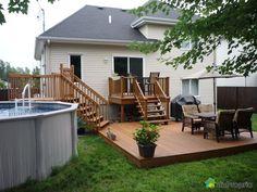"""Résultat de recherche d'images pour """"patio 2 paliers"""" Pool Porch, Small Backyard Patio, Patio Gazebo, Backyard Patio Designs, Backyard Landscaping, Patio Ideas, Landscaping Ideas, Patio Plans, Above Ground Pool Decks"""