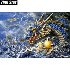 Zhui Star 5d Diy Full Square Drill Diamond Painting Dragon Women Cross Stitch Rhinestone Mosaic Home Decor Gift Bk High Standard In Quality And Hygiene Diamond Painting Cross Stitch Home & Garden