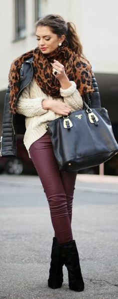 2013-11-12 by Fashion Hippie Loves. leather pants, leopard scarf, white sweater. Fall outfit