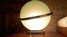 Very Rare Original Art Deco Davidsons Saturn Chrome and Green Glass Table Lamp c.1930's