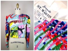 RARE Pop Art Sequin Jacket / Neon Novelty Sequined Couture Jacket by Jeanette for St. Martin by braxae on Etsy