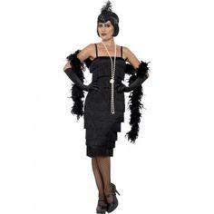 #Costume #Disfraz de #Charleston Largo en Negro en todas las tallas