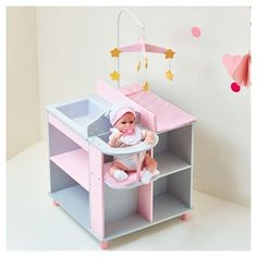 doll furniture Does you doll need a special place to be changed? Bring home a special changing table for her today! The Gray with white polka dotted, pink colored blocked changing table Baby Doll Bed, Baby Doll Nursery, Baby Doll Toys, Girl Toys, Baby Changing Station, Baby Changing Tables, Changing Mat, Barbie Bebe, Princess Baby Dolls