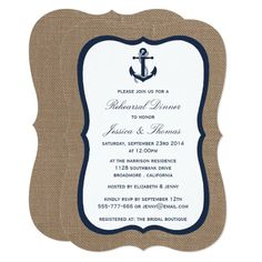 Navy Blue Nautical Anchor On Burlap Bridal Shower Invitation Nautical Wedding Invitations, Bachelorette Party Invitations, Rehearsal Dinner Invitations, Elegant Invitations, Bridal Shower Invitations, Wedding Rehearsal, Beach Bachelorette, Invites, Burlap Bridal Showers