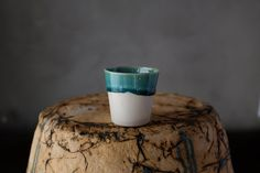 Turquoise Half Glazed Espresso Cup by BIZON on Etsy