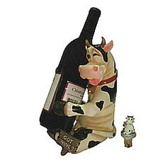 How fun for that evening bottle of wine - served in a cow wine bottle holder. Just add your favorite Pinot! What's your favorite wine to put in this holstein cow wine bottle holder?