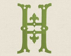 Monogram H from the beautiful alphabet. Font H by EmbroideryZone