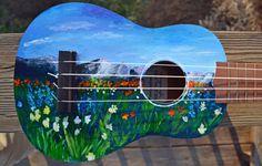 Soprano Ukulele by Szymczykguitars on Etsy Ukulele Art, Ukulele Chords, Guitar Art, Cool Guitar, Painted Ukulele, Painted Guitars, Ukulele Design, Guitar Painting, Custom Guitars