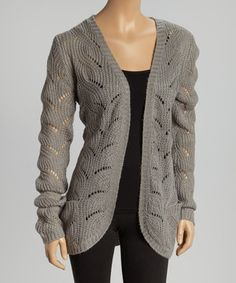 Look what I found on #zulily! Heather Gray Knit Open Cardigan by Celsius #zulilyfinds