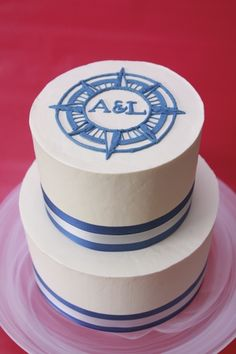 Nautical Wedding Red Velvet Cake decorated all in Swiss Meringue Buttercream. The compass rose is free-hand pipped on top. Nautical Wedding Cakes, Round Wedding Cakes, Nautical Cake, Nautical Party, Beach Wedding Favors, Wedding Decor, Wedding Souvenir, Wedding Ideas, Wedding Reception