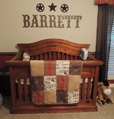 Western Nursery. Gorgeous crib and throw!