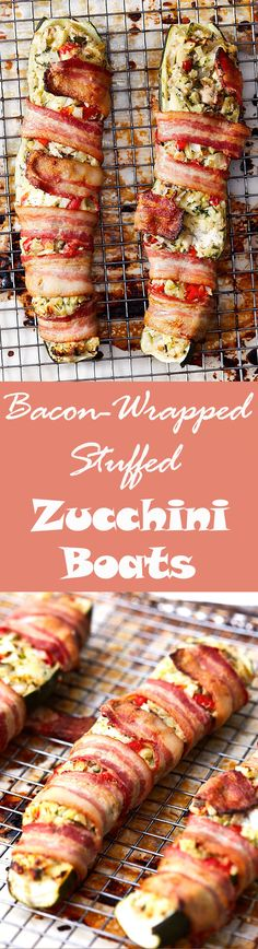 Chopped vegetables and cream cheese stuffed zucchini boats, wrapped in bacon and baked to perfection - tender, moist interior wrapped in crispy bacon.