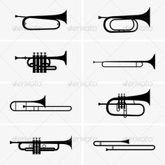 Trumpets  #GraphicRiver         Set of eight trumpet icons. The image is a…