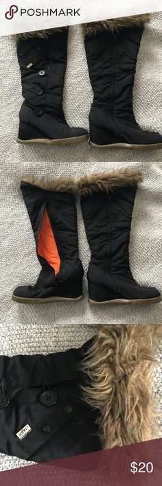 Womens high wedge snow boots Sugar brand  Water resistant polyester blend. Lined with orange and faux fur cuff Solid rubber gripping soles.  Zip closure Button details and small calf pocket. Sugar Shoes Winter & Rain Boots