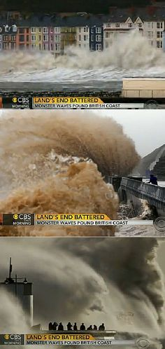 Huge Waves Batter Southern and Western Coasts of the UK - stupid stupid people but what a buzz