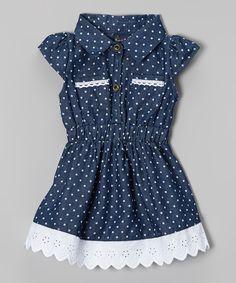 Navy Denim Polka Dot Dress//
