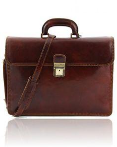 PARMA TL10018 Leather briefcase 2 compartments - Cartella in pelle 2 scomparti