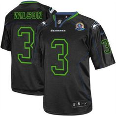 NEW Seahawks  3 Russell Wilson Lights Out Black With Hall of Fame 50th  Patch NFL 0421ba8ab6b61