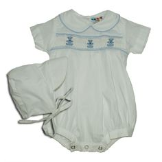 Alfie White with Teddies - Hand-smocked top (soft cotton lining to inside of smocking) popper fastening to bottom with button fastening at back. Available in sizes and months. Smocking, Children, Kids, Rompers, Button, Clothes, Dresses, Fashion, Young Children