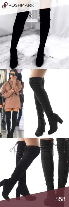 "Hurry!!! Black Suede Over The Knee Boots ReOrder!!! Black Over The Knee Vegan Suede Boots. Features a chunky 3"" heel, Rounded Toe, and a Drawstring Collar Tie at the back for a custom fit. The material is soft which makes it flexible for wide or thin calfs. No Trade. Price is Firm unless Bundled. 2+ Items 10% Off 3+ Items 20% Off. Arriving Friday GlamVault Shoes Over the Knee Boots"