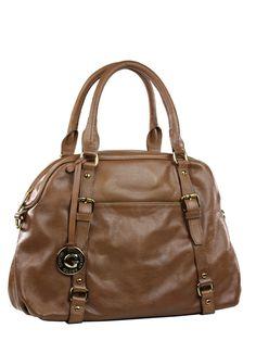 Bolsa feminina média em couro genuíno, com alças de mão e alça tiracolo.