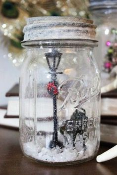 street light and bench Christmas mason jar snow globe idea 2015 - DIY Christmas craft - LoveItSoMuch.com