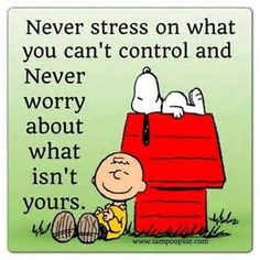 Never stress or worry quote. Snoopy on his doghouse with Charlie Brown sitting next to it. Wisdom Quotes, Quotes To Live By, Me Quotes, Funny Quotes, Qoutes, Peanuts Quotes, Snoopy Quotes, Charlie Brown Quotes, Great Quotes