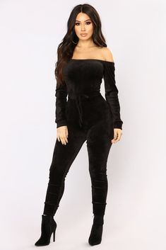 Need A Hug Velour Jumpsuit - Black