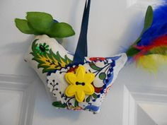 Bird ornament  stylized floral in primary colors by JulieAnnMade, $12.00