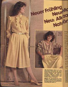 1982 Yellow Dress 80s Fashion, Vintage Fashion, Womens Fashion, Blouse Dress, Dress Skirt, Teen Skirts, Burda Patterns, Historical Costume, Yellow Dress