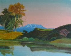 E. Besozzi pitt. 1975 Paesaggio il Rosa acrilico su tela cm. 40x50 arc. 1053
