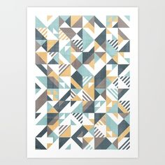 Squares and stripes geomertic pattern Art Print