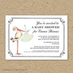 Vintage stork baby shower invitation, baby girl stork shower, baby boy stork shower, gender neutral shower, printable shower invitation by saralukecreative on Etsy https://www.etsy.com/listing/110913936/vintage-stork-baby-shower-invitation