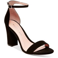 Madden Girl Bella Two-Piece Block Heel Sandals ($49) ❤ liked on Polyvore featuring shoes, sandals, black, heeled sandals, black block heel sandals, dress sandals, ankle tie sandals and ankle strap heel sandals