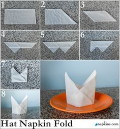 Bishop Hat Napkin Fold - Fold one corner down and the other up. Napkin folding is a great way to add a little extra something to your dinning table layout. Bishop Hat Napkin F. Fancy Napkin Folding, Wedding Napkin Folding, Folding Napkins, Paper Folding, How To Fold Napkins, Diy Wedding Napkins, Christmas Tree Napkin Fold, Paper Napkins, Backdrops