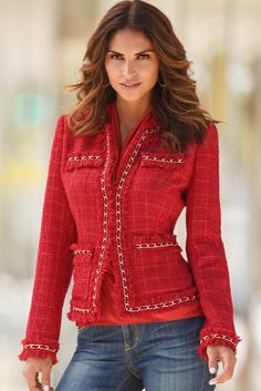 Parisian Jacket : Best-selling iconic jacket with fringed hems, chain piping and allover shimmer. Seamed for shaping with true front pockets. Hook-and-eye closure. Polyester/wool Imported Dry c Chanel Fashion, Red Fashion, Fashion Outfits, Womens Fashion, Mode Outfits, Casual Outfits, Chanel Style Jacket, Mode Chic, Boston Proper