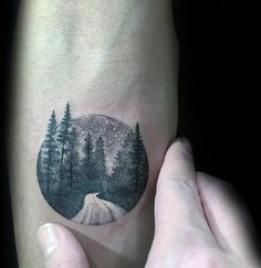 Small Simple Guys Circle Forest Night Inner Forearm Tattoo