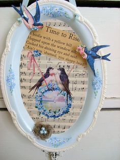 Sweet Bluebirds and Forget me nots Collage