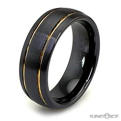 Mens Black Rings Apollo mens gold cut black