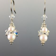 Swarovski Crystal & Crystal Pearl Short Cluster Earrings