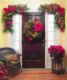 Christmas Wreath Ideas - love the corner swags!