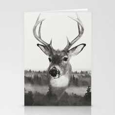 Whitetail Deer Black and White Double Exposure Stationery Card