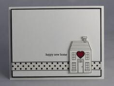 Congratulate a new homeowner with a handmade new home card. This black and white card features a hand-stamped image of a house that was popped