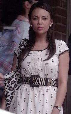 Mona's cat printed dress on Pretty Little Liars.  Outfit Details: http://wornontv.net/34212/ #PLL