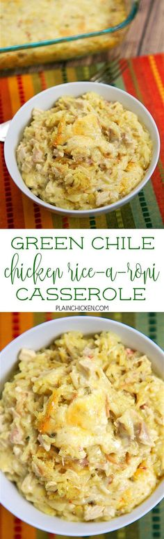 Green Chile Chicken Rice-A-Roni Casserole - comfort food at its best! Chicken Rice-A-Roni sour cream cream of chicken soup green chiles cumin pepper jack cheese and chicken. You can make this ahead of time and freeze for later. Chicken Rice, Cream Of Chicken Soup, Quorn Chicken, Chicken Soups, Cooked Chicken, Chicken Spaghetti, Ranch Chicken, Cheesy Chicken, Spaghetti Squash