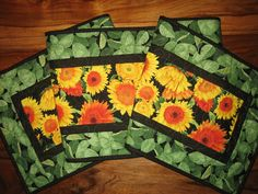 Quilted Table Runner Summer Yellow Sunflowers Green by TahoeQuilts