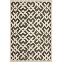 Poolside Black/ Bone Indoor Outdoor Rug (5'3 x 7'7)